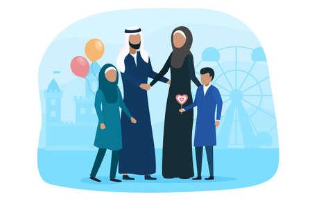 Muslim family walking with kid in amusement park Illusztráció