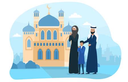 Muslim family praying near church Illusztráció