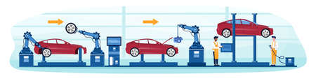Process of automated car production. Wehicle parts on the machinery line with robotic hands and diverse multiracial mechanics helping. Flat cartoon vector illustration Illusztráció