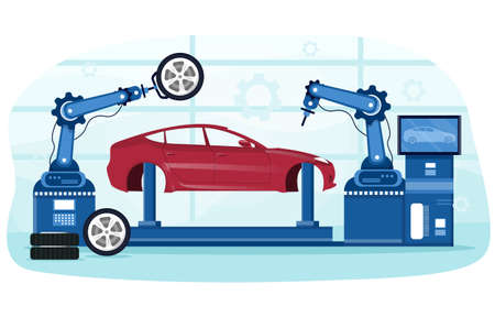 Detailed process of automated car production Illusztráció