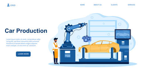 Black mechanic is managing process of automated car production Illusztráció