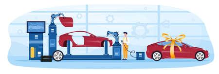 Final stage of car production industry. Illusztráció