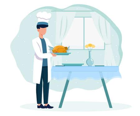 Chef in white robe presenting fried chicken Çizim