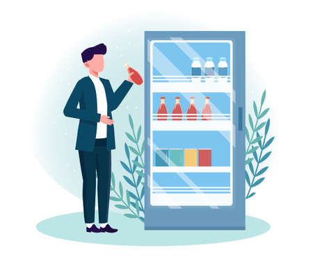 Man getting cold drink from fridge