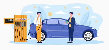 Gas station worker help to refuel car Vector Illustratie