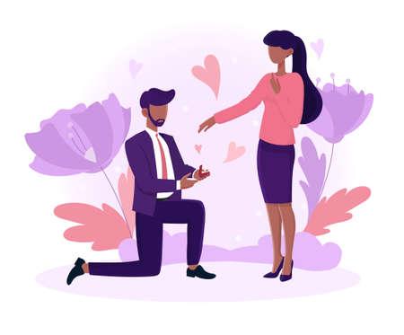 Black male character is proposing Illusztráció