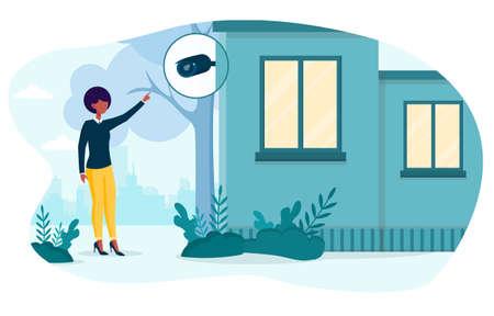 Black woman checking security camera Illusztráció