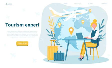 Female travel agent in office Illusztráció