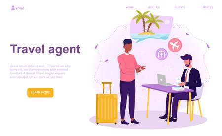 Caucasian travel agent Illusztráció