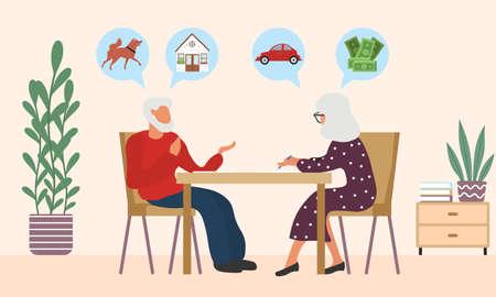 Old man and woman write a testament Vektoros illusztráció