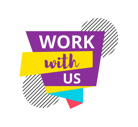 Work with us badge, label