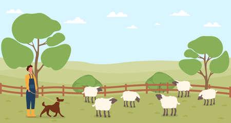 Farmer working on countryside farm Ilustração