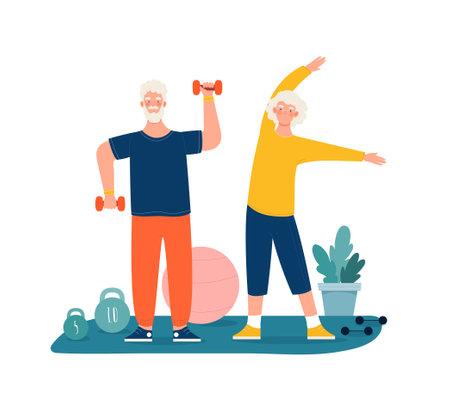 Elderly couple have sports activity, exercising Vektorgrafik