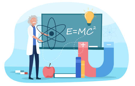 Old grey physics making experiment. Idea of education and science. Magnetic power and gravity, mechanics. Flat cartoon vector illustration