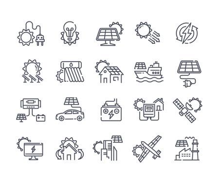 Solar panel outline icon set Vector Illustration