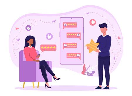 Customer giving feedback sitting in armchair