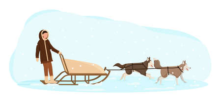 Eskimo man riding in a sledge pulled by dogs. Ilustracje wektorowe
