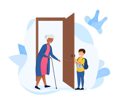 Little boy opening the door to an elderly woman with stick