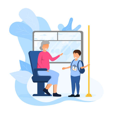 Little polite boy gave an elderly woman his seat in bus Illustration