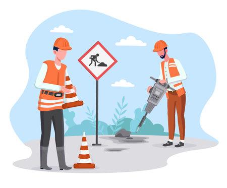 Two male road workers repairing asphalt