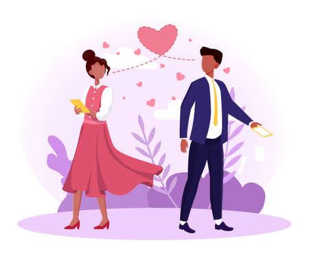Man and woman falling in love at first sight