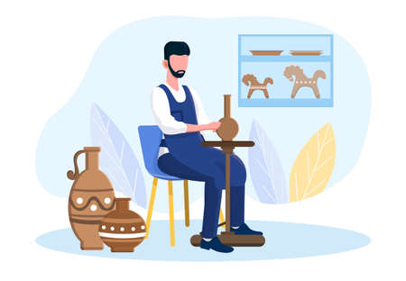 Professional male potter master is sitting on a chair making a vase in a workshop
