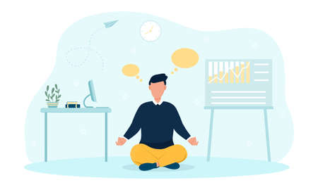 Businessman meditating and concentrating in office at work Illustration