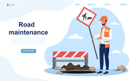 Male construction worker is puts a sign of road maintenance Vector Illustration