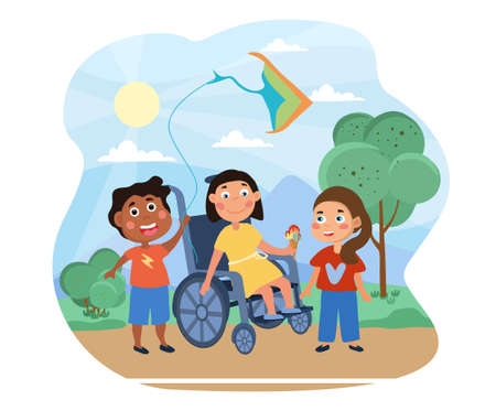 Young girl in a wheelchair playing with friends illustration Vektorgrafik