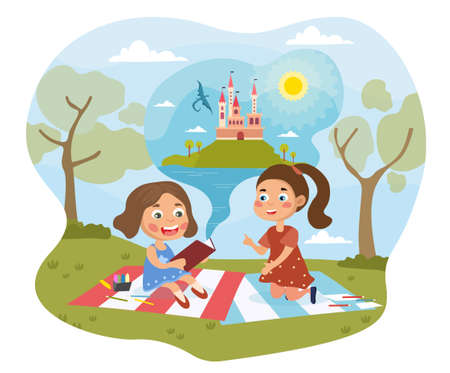 Two little girls reading a fairytale in a book illustration Vector Illustration