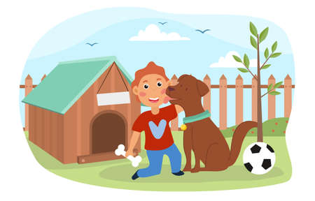 Young boy playing with his pet dog outdoors illustration