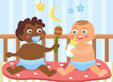 Two little babies of different ethnicity illustration