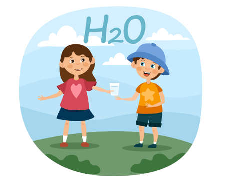 Two young children drinking healthy fresh water illustration Иллюстрация