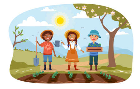 Three young children working in a garden together illustration
