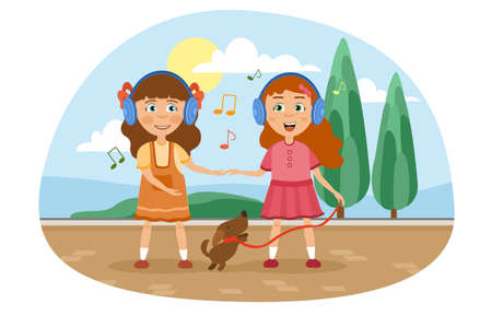 Two little girls listening to music with the dog illustration