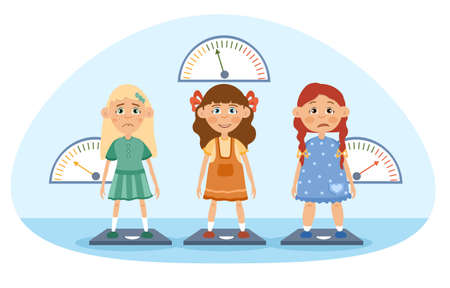 Three young girls being weighed on scales illustration 일러스트