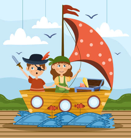 Two young children playing at being pirates illustration