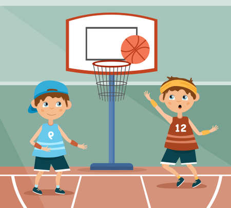 Two young children playing basketball illustration Vecteurs
