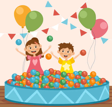 Children playing with balls at a fairground illustration Stock Illustratie