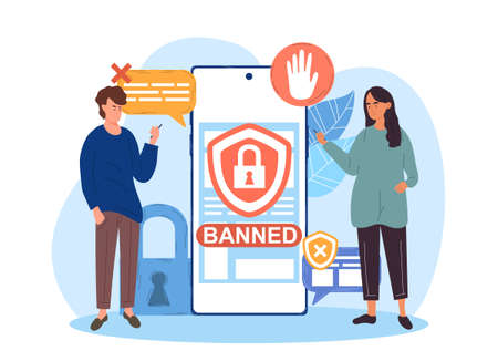 Male and female characters holding smartphone with banned internet content on screen Ilustracja
