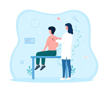 Male patient takes tests for health insurance  イラスト・ベクター素材