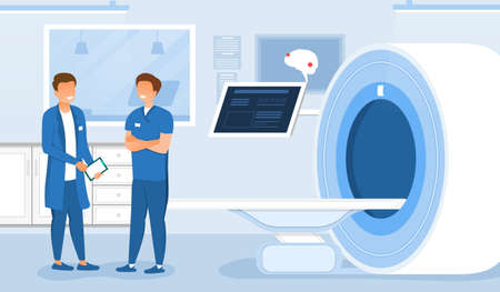 Two male doctors testing magnetic resonance imaging