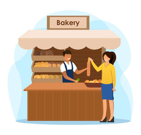 Male salesman is working at the bakery stall