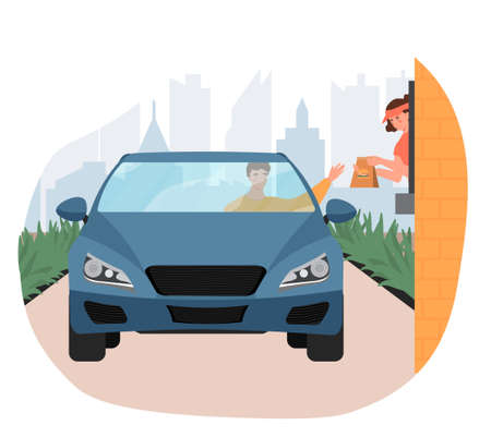 Male customer in car holds out his hand to take his order from restaurant employee at the drive thru Vector Illustratie