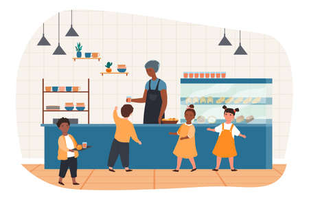 School canteen with children Ilustracja