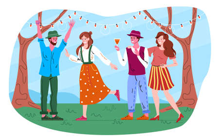 Male and female friends are throwing retro garden party