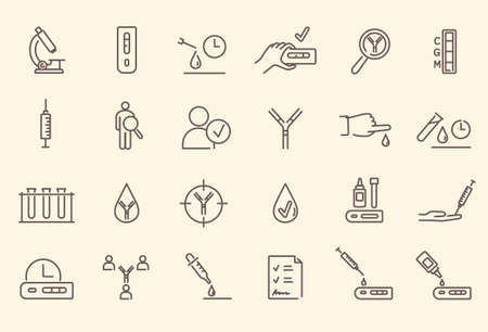 Simple set of black and white outline antibody test icons