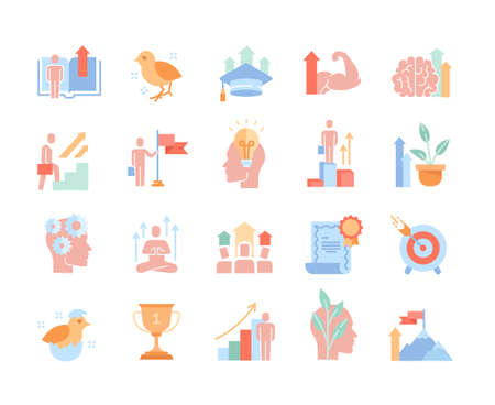Colored vector icons set of personal growth