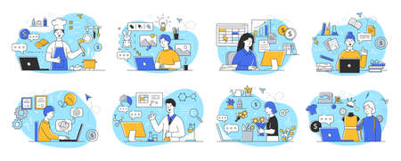People of different professions work remotely