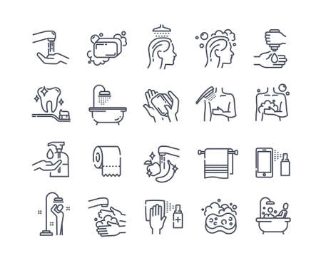 Body wash outline icons